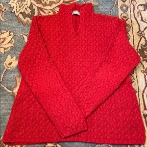 Cable-knit, split-neck Sweater